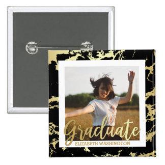 Gold & Black Stains Typography | Photo Graduation 15 Cm Square Badge