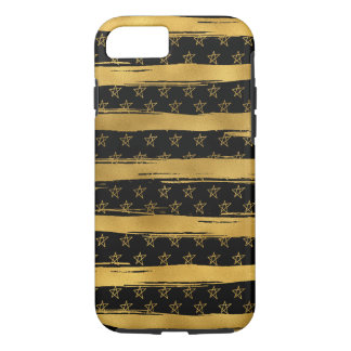 Gold Black Stars and Stripes iPhone 8/7 Case