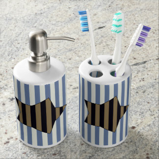 Gold & black striped star, marine stripes pattern bathroom set