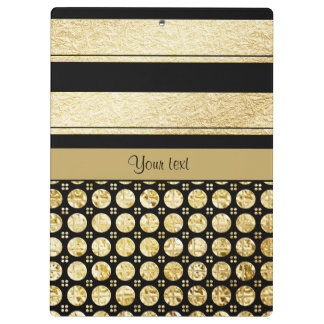 Gold & Black Stripes And Glitter Spots Clipboard
