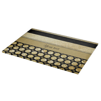 Gold & Black Stripes And Glitter Spots Cutting Board