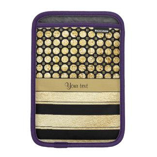 Gold & Black Stripes And Glitter Spots iPad Mini Sleeve
