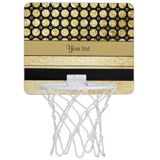 Gold & Black Stripes And Glitter Spots Mini Basketball Hoop