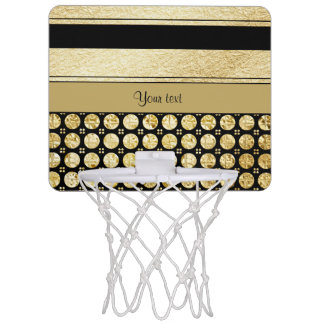 Gold & Black Stripes And Glitter Spots Mini Basketball Hoop