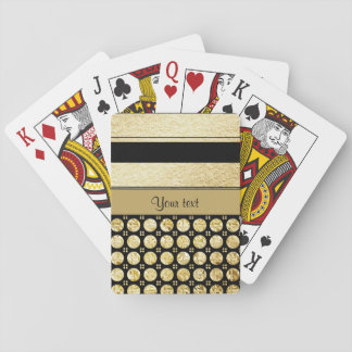 Gold & Black Stripes And Glitter Spots Playing Cards