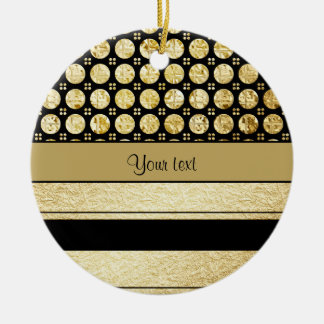 Gold & Black Stripes And Glitter Spots Round Ceramic Decoration