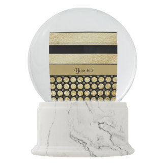 Gold & Black Stripes And Glitter Spots Snow Globe