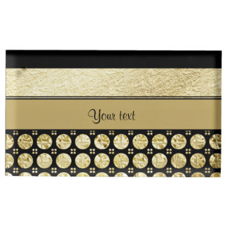 Gold & Black Stripes And Glitter Spots Table Card Holder