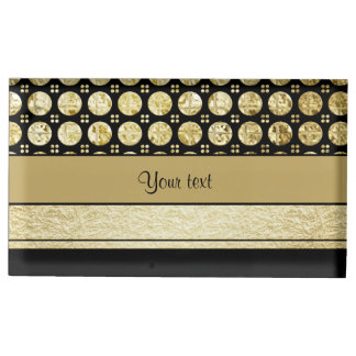 Gold & Black Stripes And Glitter Spots Table Card Holders