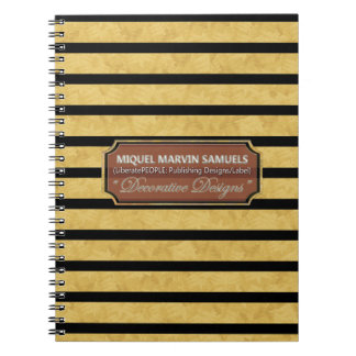 Gold Black Stripes Decorative Modern Notebook