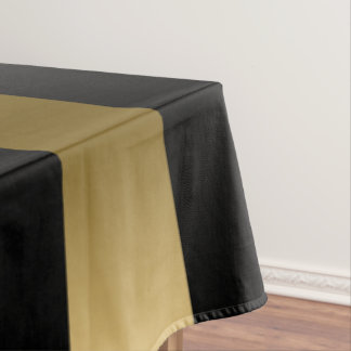 Gold & Black Stripes Geometric Pattern Tablecloth