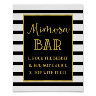 Gold Black Stripes Mimosa Bar Sign Wedding
