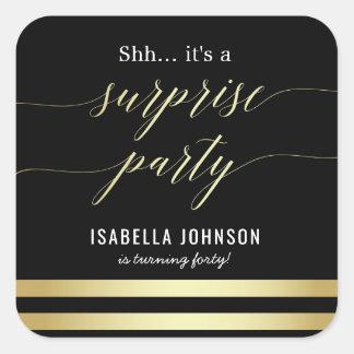Gold & Black Stripes Shh... It's A Surprise Party Square Sticker