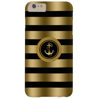 Gold & Black Stripes With Nautical Anchor Barely There iPhone 6 Plus Case