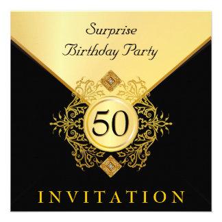 Gold Black Surprise Birthday Party Invitations