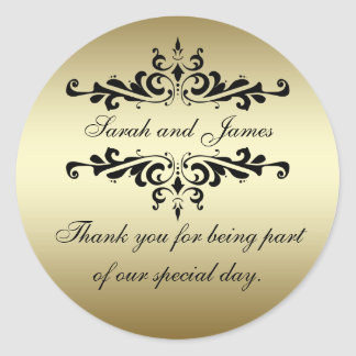 Gold Black Swirls Thank You Wedding Favor Stickers
