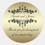 Gold Black Swirls Thank You Wedding Favour Round Sticker