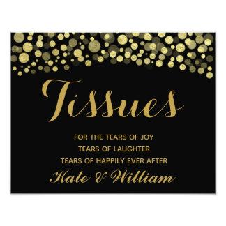 Gold & Black tissues wedding sign