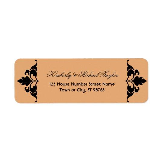 Gold Black Vintage Modern Art Deco Wedding Return Address Label
