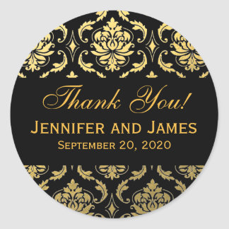 Gold Black Wedding Damask Thank You Label Round Sticker