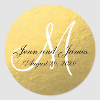 Gold Black Wedding Favor Sticker Initial