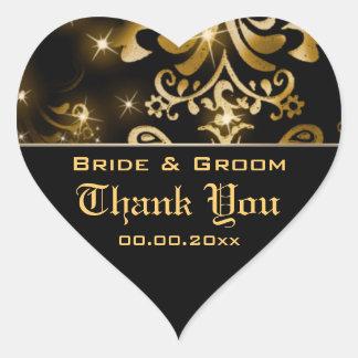 "Gold black wedding winter ""thank you"" heart sticker"