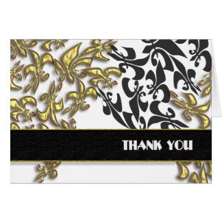Gold Black White Fleur de Lis Damask Thank You Card