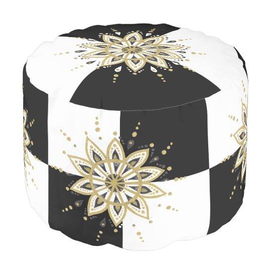 Gold Black & White Mandala Geometric Design Pouf