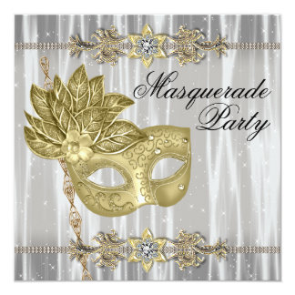 Gold Black White Masquerade Party Personalized Announcement