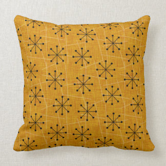 Gold, Black, White | Mid-Century Atomic Starbursts Cushion