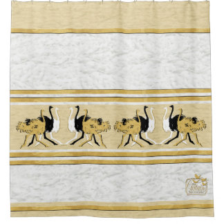 Gold Black White Ostriches Clouds Shower Curtain