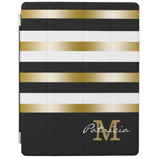 Gold Black White Stripes Custom Monogram iPad Cover