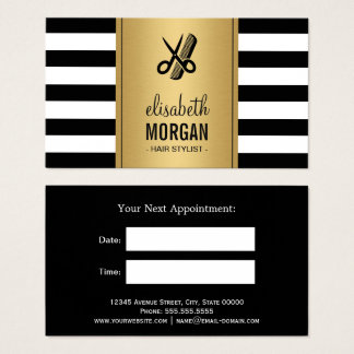 Gold Black White Stripes Hair Stylist Appointment Business Card