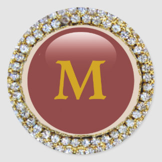 Gold Bling Bling Monogram Round Stickers