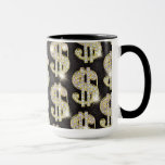 Gold Bling Diamonds Dollar Sign Pattern
