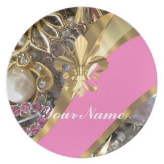 Gold bling fleur de lys dinner plates