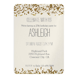 Gold Bling Glitter Confetti birthday 13 Cm X 18 Cm Invitation Card