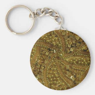 Gold bling glitter & pearls basic round button key ring