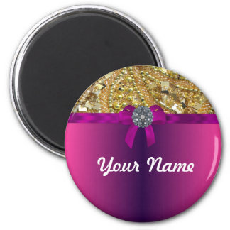 Gold bling & magenta 6 cm round magnet