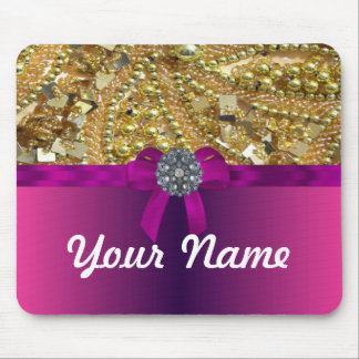 Gold bling magenta mouse pad