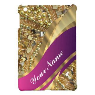 Gold bling & magenta swirl case for the iPad mini