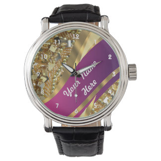 Gold bling sequins personalized  pattern wristwatch