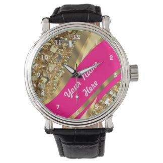 Gold bling sequins personalized  pattern wristwatches