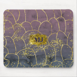 Gold Blinged Watercolor Ink Blue Hombre Watercolor Mouse Pad