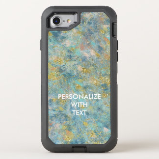 Gold Blue Abstract OtterBox Defender iPhone 7 Case