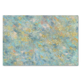 Gold Blue Abstract Tissue Paper