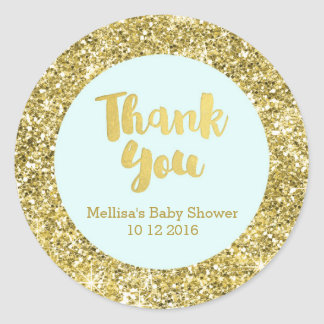 Gold Blue Baby Shower Thank You Favor Sticker