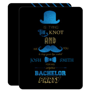 Gold/Blue BACHELOR PARTY INVITATION