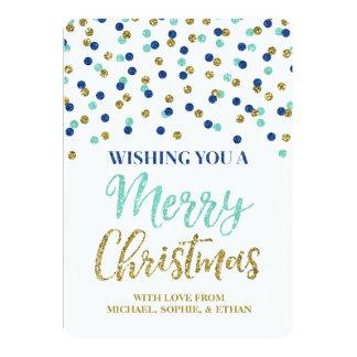 Gold Blue Confetti Merry Christmas Glitter 13 Cm X 18 Cm Invitation Card