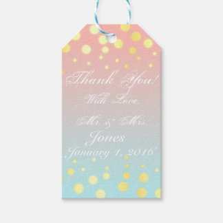 Gold blue coral ombre gift tag